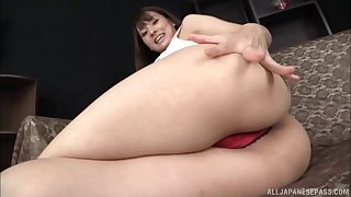 Sexy Japanese chick shows off her body and masturbates