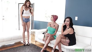 Anna Bell and Lily Lane hook up with a chick for a nasty threesome