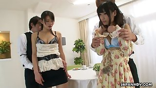 Japanese chick and her kinky girlfriend Runa Kobayashi are fucked by two Asian dudes