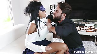 Blindfolded girl Ember Snow gets surprised with a stiff dick
