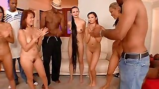 Kitty Jung with nice ass riding monster cock in group sex