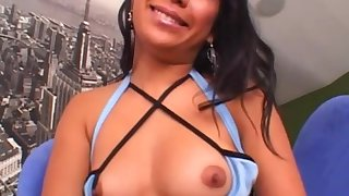 Asian brunette obtains facial cumshot after deepthroating cock in POV